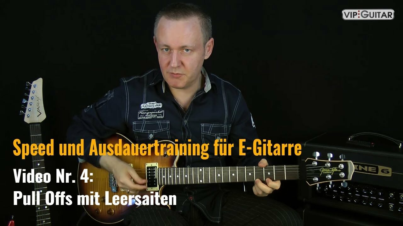 Speed- und Ausdauertraining für E-Gitarre: Pull Offs mit Leersaiten